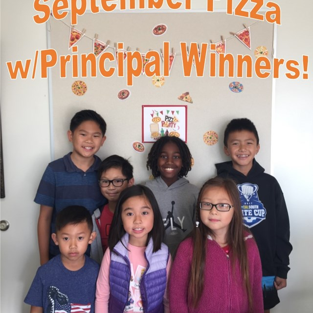 Congratulations to our winners for September Pizza with Principal! Look at those smiles!