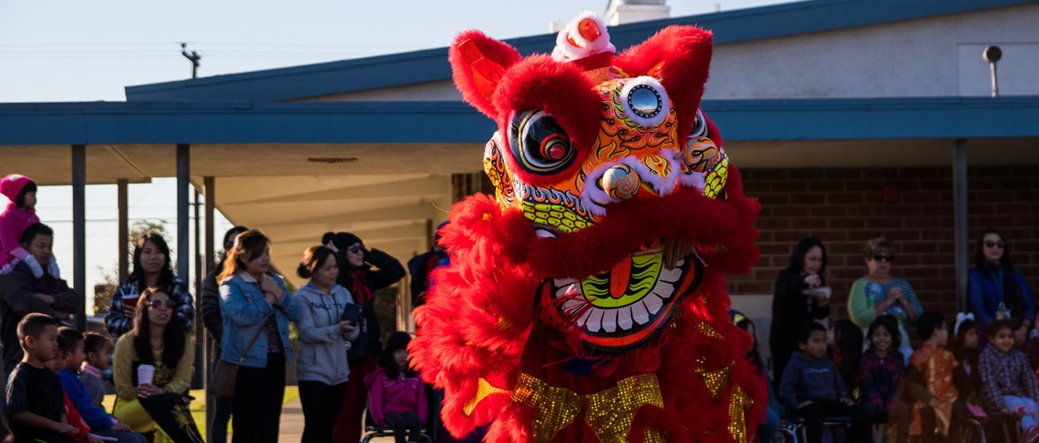 La Quinta Lion Dancers visit Anthony Elementary to perform a spectacular show
